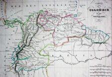 KOLUMBIEN +GUYANAS/ COLOMBIE ET GUYANES grenzcolor.Kupferstich von THIERRY 1835