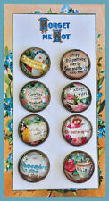 Set of 8 VICTORIAN FRIENDSHIP Studio GLASS DOME BUTTONS from VINTAGE ART 20mm