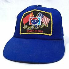Vtg 1990 Seattle WA Goodwill Games Snapback Cap Blue Baseball Hat Ted Turner