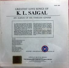 K.L.SAIGAL   GRATEST LOVE SONGS ON A LONG PLAY RECORD