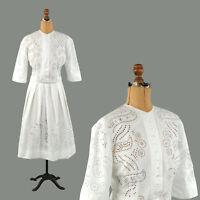 Vintage 1880s Victorian White Cotton Sheer Handmade Eyelet Lace Dress Set M
