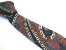 "Vintage 3.5"" CHRISTIAN DIOR Tie Trendy Red Navy Blue Paisley Floral Silk Necktie"