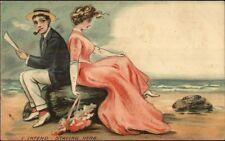 Romance - Man Smoking Pipe POSTAL HISTORY Tied Bangor ME Stamp Image