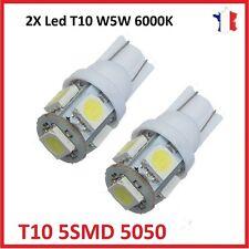 2X Ampoule T10 W5W 5050 SMD 5 LED 6000K Blanc Pure Veilleuse Lampe