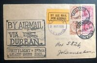 1925 East London South Africa First Flight Cover FFC to Johannesburg