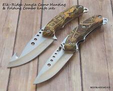 ELK RIDGE JUNGLE CAMO HUNTING & FOLDING KNIFE COMBO SET WITH NYLON SHEATH