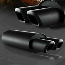 """Universal 3"""" Remis Style Dual Square Tip Black T304 Exhaust Muffler 2.5"""" Inlet"""