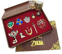 New The Legend of Zelda Triforce Hylian Shield & Master Sword Keychain Necklace
