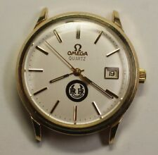 Vintage Omega 10K Yellow Gold Filled 1370 Quartz SS 34mm Watch Parts Repair Runs