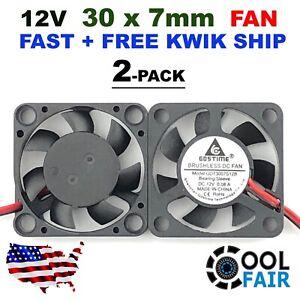 12v 30mm x 7mm DC Cooling Fan 3007 Brushless Mini Cooler 30x30x7mm 2pin 2 Pcs