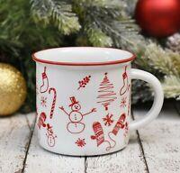 Collins Christmas Coffee Mug - Holiday Doodles - 12 oz. Porcelain - Camp Style