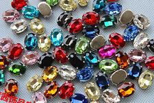36pcs 14x10mm sew on rhinestone oval shape crystal glass bead DIY gem dress make
