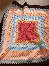 New Hand Crocheted Multi-coloured Lap Blanket
