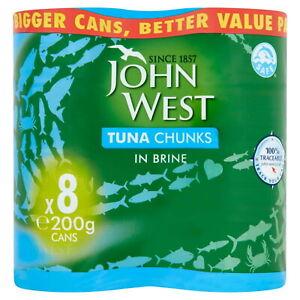 John West Tuna Chunks in brine (200g) Pack of 8 Tins Cans