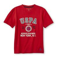 U.S. Polo Assn. Boys' V-Neck Graphic T-Shirt - Authentic Sportswear - Red 18