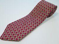 Hermes Paris 59 EA Dark Pink Interlocking Rings Pure Silk Necktie Made in France