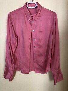 Pink 100% Silk Shirt Vintage Racing green