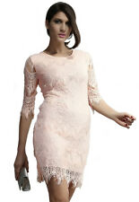 Light Peach Allover Lace Three Fourth Sleeves Bodycon Mini Dress Large