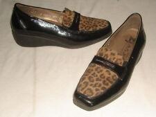 MEPHISTO Celerina Black Patent Leather Leopard Air Jet Slip On Shoes Sz. 6 EUC