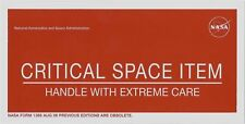 "NASA sticker 'CRITICAL SPACE ITEM' 4"" x 8"""