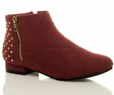 stivali alla caviglia da donna rossi cerniera