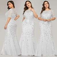 Ever-Pretty Plus Size Mesh Sequins Fishtail Long Wedding Dress Evening Prom Gown