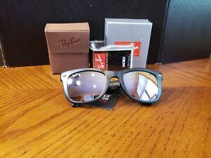 Ray-Ban RB4105 601S/4K Wayfarer Folding Black Sunglasses Lilac Mirror Lens