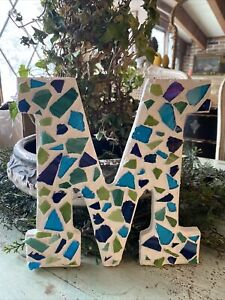 "COLORED GLASS CAPITAL LETTER ""M"" ALPHABET WALL DECOR OR TABLETOP DISPLAY"