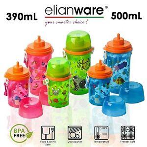 BPA Free Toddler Kids Children School Drinking Water Bottle Sippy Suction Straw