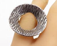 925 Sterling Silver - Vintage Modernist Oxidized Statement Ring Sz 7 - RG4747