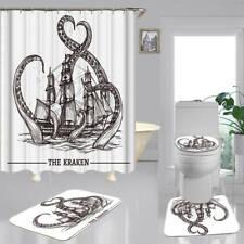 Kraken Octopus Art Shower Curtain Bath Mat Toilet Cover Rug Bathroom Decor