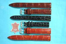 Watch Band Elegant Crocodile Embossing on Calf Leather 12 14 16mm Black