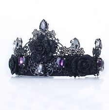 Black Tiara Crown Purple Rhinestone Queen Crown Tiara Wedding Bridal Goth tiara