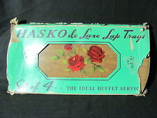 4 Hasko de Luxe Lithographed Wood Lap/Serving/Buffet /TV Trays with Red Roses