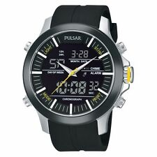 NEW! BLACK DIAL PULSAR BY SEIKO PW6001 MENS CHRONOGRAPH WATCH IN ORIGINAL BOX!