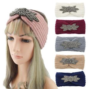 Six-Leaf Crystal Beaded Knitted Headband Winter Crochet Head Wrap Wide Hairband*