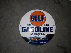 GOOD GULF GASOLINE VINTAGE PORCELAIN ENAMEL SIGN 30 INCHES ROUND