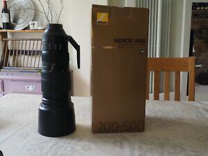 Nikon Nikkor AF 200-500mm F/5.6 VR ED AF-S Lens with protective cover and case
