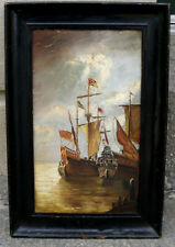Interesting antique Seascape with Frigate warships from 1600.