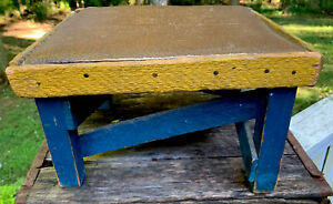 VTG WOOD FOOT STOOL ORIGINAL FINISH & LEATHER TOP GREAT COLORS!