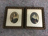 Pair Of Antique Wood Frames With Prints Of Women-Rope Design