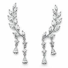 Marquise-Cut Crystal Silvertone Ear Climber Earrings 1.75""