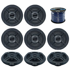 "8x Marine Black 6.5"" Full Range Speakers, Enrock 16 Gauge 50FT Speaker Wire"