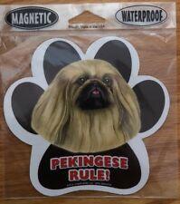Pekingese Rule! Waterproof Dog Paw Print Magnet