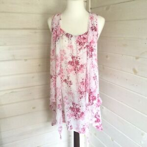 Ladies Cotton Sleeveless Pink Floating Top Size 10/16 Cotton Free Post
