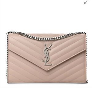 NEW  Authentic SAINT LAURENT  Mono Leather Bag on a Chain Mable Pink Bag
