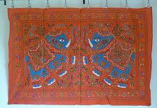 Parete Da Appendere Arazzo Indiano Etnico Arancione Multi Elefanti Ricamato Paillettes