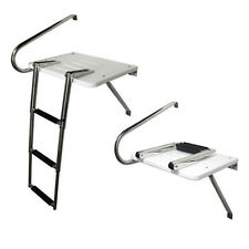 3 Step Stainless Rails Outboard Swim Platform Boat Ladder Telescoping Wonderful