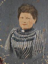 DUGARDIN Tableau miniature Peinture à l'huile photographie retouchée Portrait