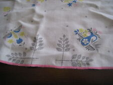 Vtg Tablecloth Grey Pink Blue Yellow Floral Butterflies Pink Trim AS IS 65x72